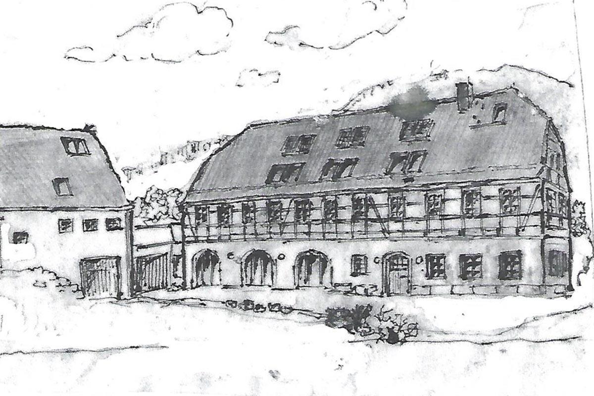 Alter Gutshof Papstdorf gezeichnet von Kl. Altenburger